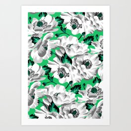 Mount Cook Lily - Green/White Art Print