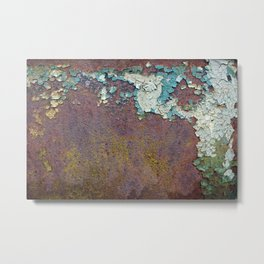 Flaking paint on old rusty wall Metal Print