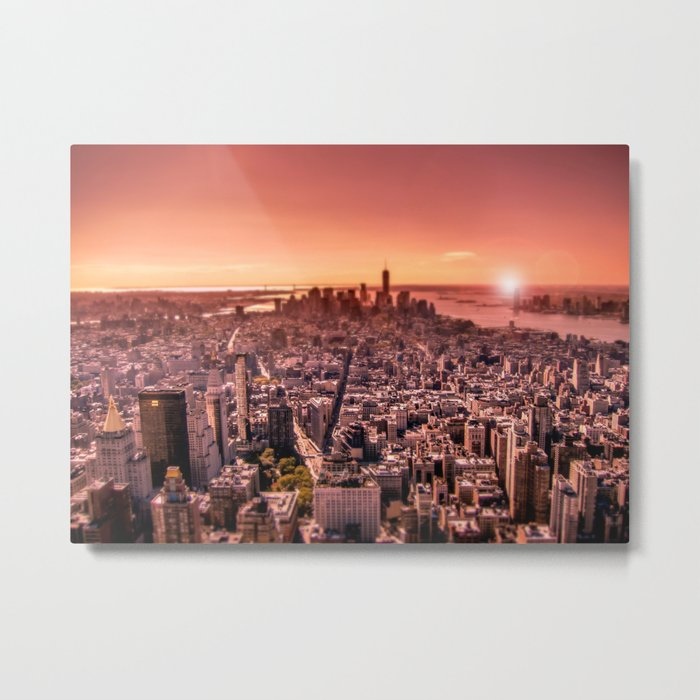 Manhattan in red Metal Print