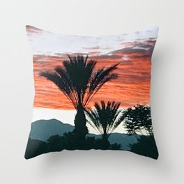 Palm Springs, California Palm Trees & Mountains at Sunset Throw Pillow