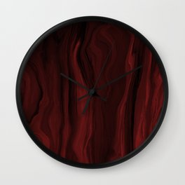 Marblesque Black and Red - Abstract Art Marble Series by Jennifer Berdy Wall Clock