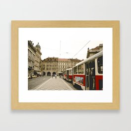 Prague Tram Station. Framed Art Print