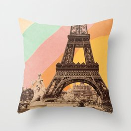 Rainbow Sky Above The Eiffel Tower Throw Pillow