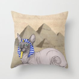 Sphynx Cat With Pyramids of Giza Throw Pillow