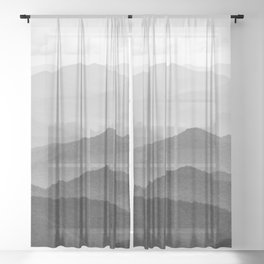 Forest Fade - Black and White Landscape Nature Photography Sheer Curtain