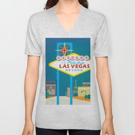 Las Vegas, Nevada - Skyline Illustration by Loose Petals Unisex V-Neck
