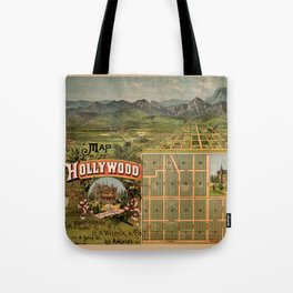 Map Of Hollywood 1887 Tote Bag