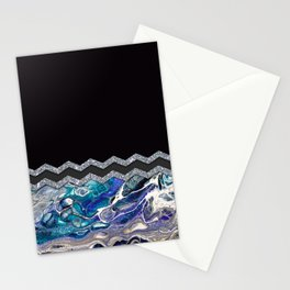 BLUE OCEAN MINIMAL LIQUID PAINTING Stationery Cards