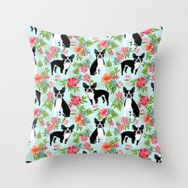 Boston Terrier florals tropical hawaiian print dog breeds custom dog art pet portraits Throw Pillow