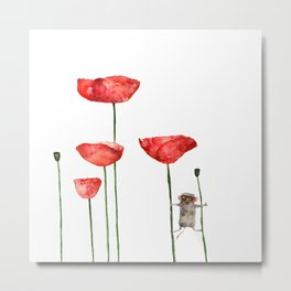 Little mouse loves big poppies  Metal Print