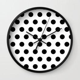 White And Black Polka Dots Wall Clock