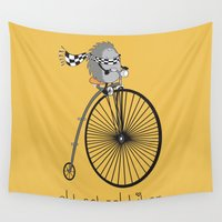 old school Wall Tapestries featuring old school biker by mangulica