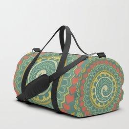 Retro Colorful 60s 70s Polynesian Tattoo Mandala Pattern - Vintage Green Duffle Bag