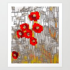 Cubism Poppies Art Print