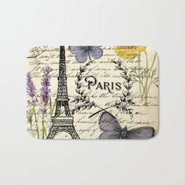 french botanical print purple butterfly lavender floral paris eiffel tower Bath Mat
