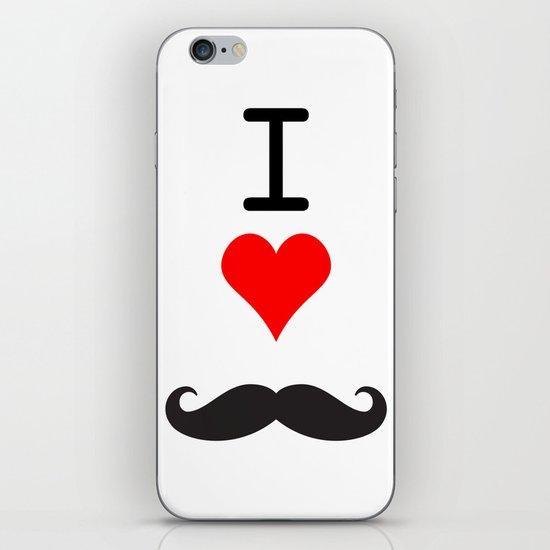I Love Mustache iPhone & iPod Skin