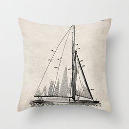 Sailboat Patent - Yacht Art - Antique Throw Pillow