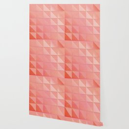 pink coral peach minimal geometric pattern with fading triangle stexture Wallpaper