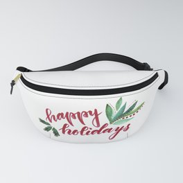 Happy Holidays - red and green Fanny Pack