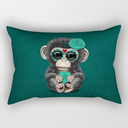 Teal Blue Day of the Dead Sugar Skull Baby Chimp Rectangular Pillow