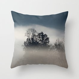 Morning Fog with Trees Throw Pillow
