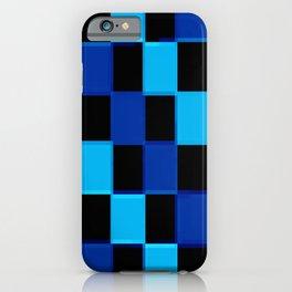 Blue & Black 3D Checkerboard iPhone Case