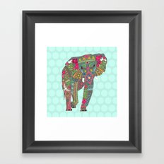 painted elephant aqua spot Framed Art Print