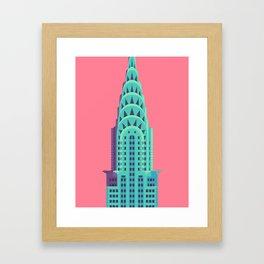 Chrysler Building New York Art Deco - Red Framed Art Print