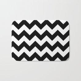 BLACK AND WHITE CHEVRON PATTERN - THICK LINED ZIG ZAG Bath Mat