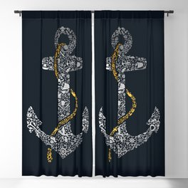 Anchor in Gold and Silver Blackout Curtain