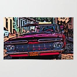 Old american car in Trinidad, Kuba Rug