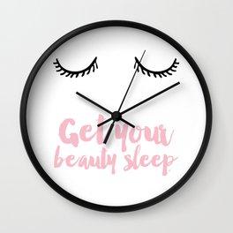 Beauty sleep Pink typography Wall Clock