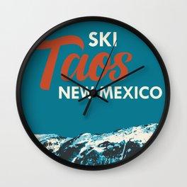 Ski Taos, New Mexico Poster Wall Clock