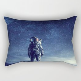 galaxy astronaut Standing alone in Mars Rectangular Pillow