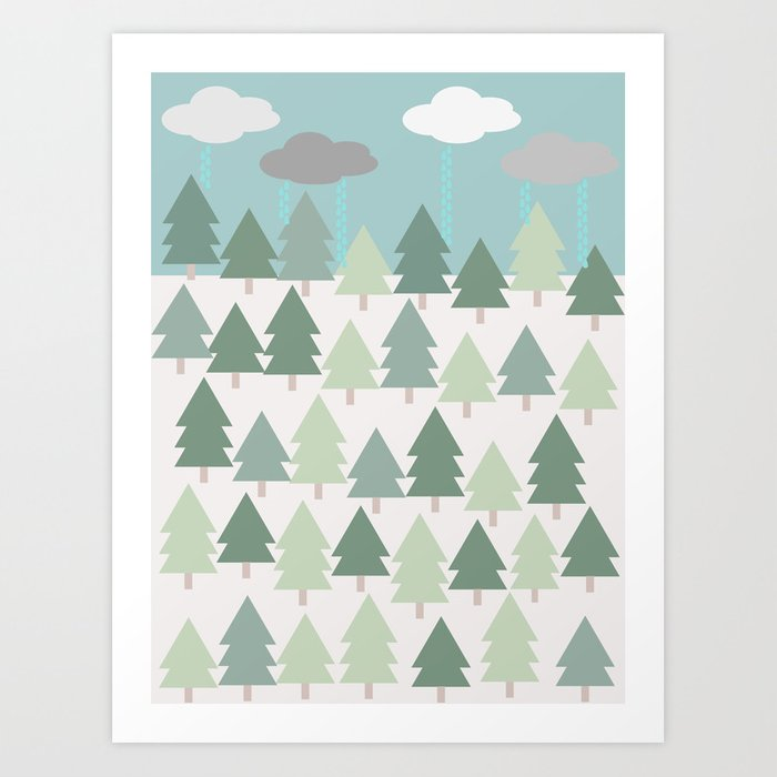 Pacific Northwest Tree and Rain Scene - Portland, PDX, Seattle, Washington,  Oregon Art Print by corriejacobs