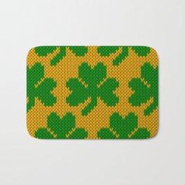 Shamrock pattern - orange, green Bath Mat