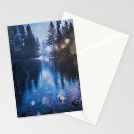 Magical Blue Forest Water Reflection - Nature Photography Stationery Cards