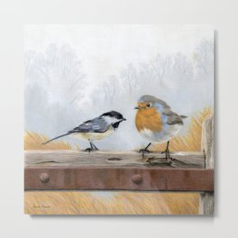 Misty Morning Meadow Cropped- Chickadee and European Robin Metal Print