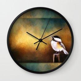 Chickadee in Morning Prayer Wall Clock