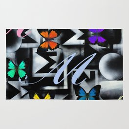 Monarch Butterfly Modern Abstract Painting Rainbow Art Rug