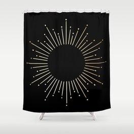 Sunburst Gold Copper Bronze on Black Shower Curtain