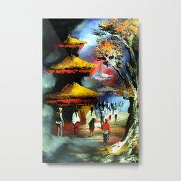 Panoramic Night View Of Nyatapola Temple Metal Print