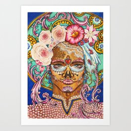 Baroque rococo day of the dead portrait with roses and laces Art Print
