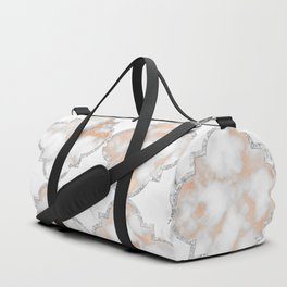 Silver and Rose Gold Marble Arabesque Duffle Bag