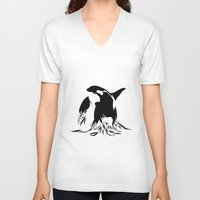 orca V-neck T-shirts featuring Orca by Bekka Kate Art