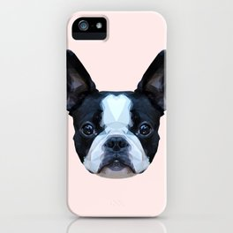 Frenchie / Boston Terrier // Pastel Pink iPhone Case