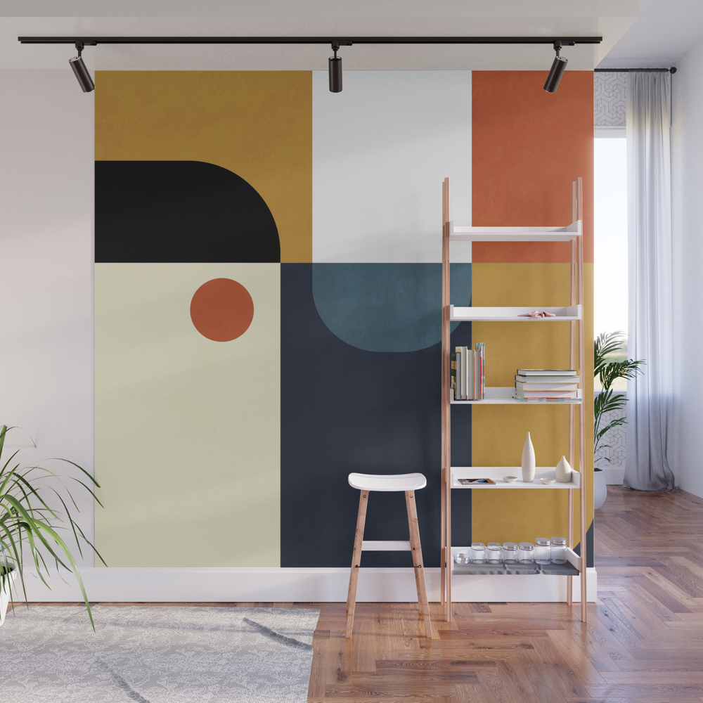 Mid Century Abstract Shapes Fall Winter 4 Wall Mural by anarutbre