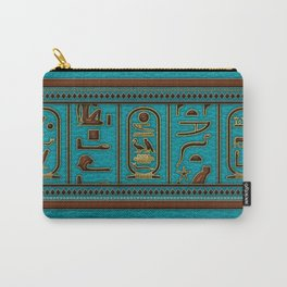 Egyptian Golden Leather hieroglyphs embossed on teal Carry-All Pouch