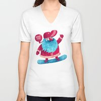santa V-neck T-shirts featuring Snowboard Santa by Lime