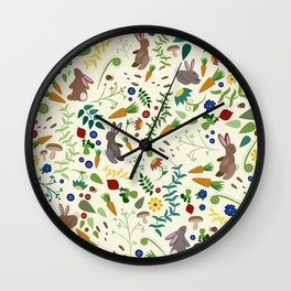 Rabbits In The Garden Wall Clock